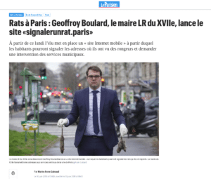 "Article du Parisien sur Geoffroy Boulard ""signalerunrat.paris"""